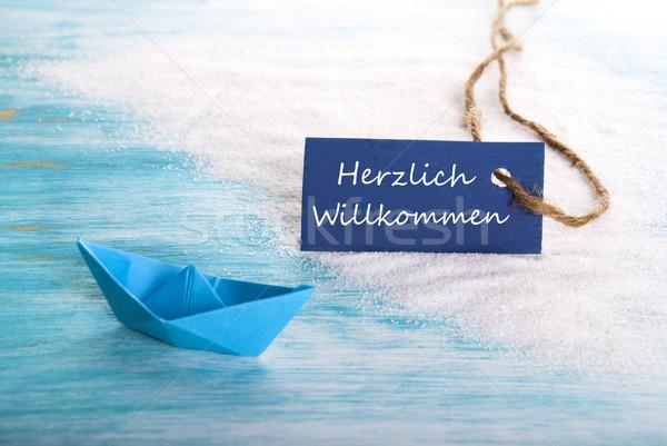 Herzlich Willkommen Label Stock photo © Nelosa