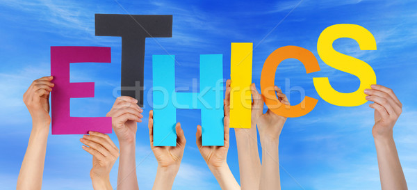 People Hands Holding Colorful Word Ethics Blue Sky Stock photo © Nelosa