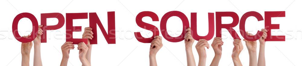 Mensen handen Rood rechtdoor woord Stockfoto © Nelosa