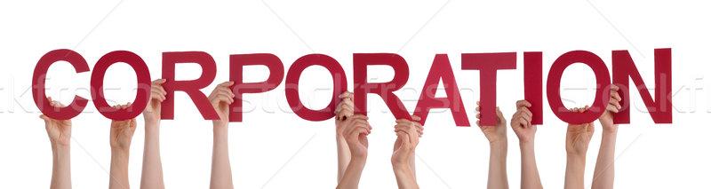 Emberek kezek tart piros egyenes szó Stock fotó © Nelosa