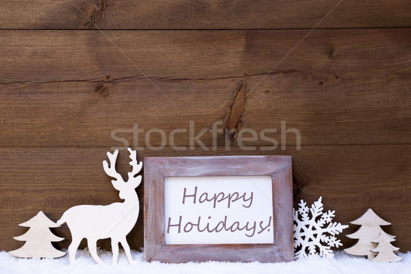 Shabby Chic Christmas Card With Happy Holidays Stock photo © Nelosa