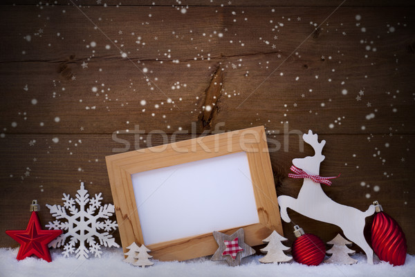 Red Christmas Card, Copy Space, Reindeer And Ball, Snowflakes Stock photo © Nelosa