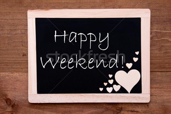 黒板 木製 心 文字 幸せ 週末 ストックフォト © Nelosa