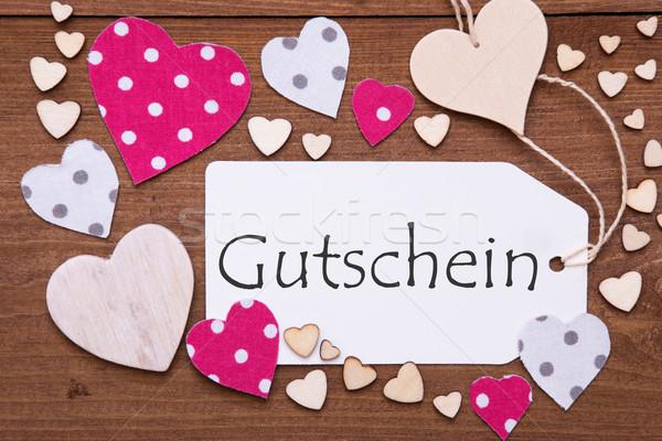 Label With Pink Heart, Gutschein Means Voucher  Stock photo © Nelosa