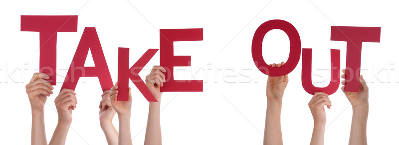 People Hands Holding Red Word Take Out Stock photo © Nelosa