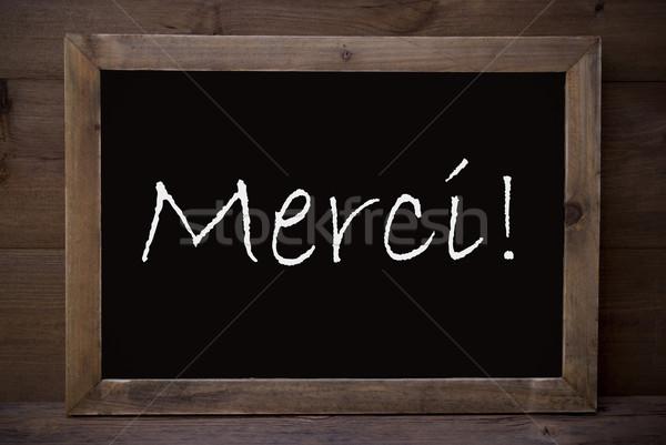 Tábla köszönjük barna iskolatábla francia szöveg Stock fotó © Nelosa