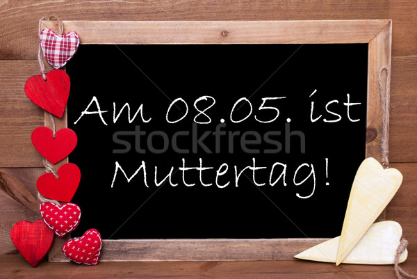 One Chalkbord, Red And Yellow Hearts, Muttertag Mean Mothers Day Stock photo © Nelosa