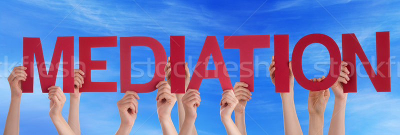 Many People Hands Holding Red Straight Word Mediation Blue Sky Stock photo © Nelosa