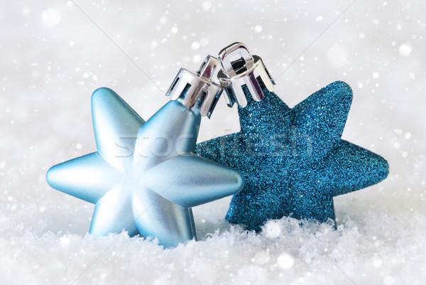 Karanlık açık mavi Yıldız noel ağacı kar Stok fotoğraf © Nelosa