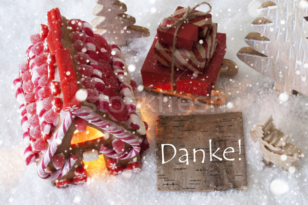 Gingerbread House, Sled, Snowflakes, Danke Means Thank You Stock photo © Nelosa