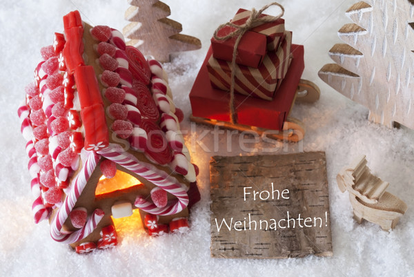 Gingerbread House, Sled, Snow, Frohe Weihnachten Means Merry Christmas Stock photo © Nelosa