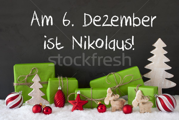 Christmas Decoration, Cement, Snow, Nikolaus Means St Nicholas Day Stock photo © Nelosa
