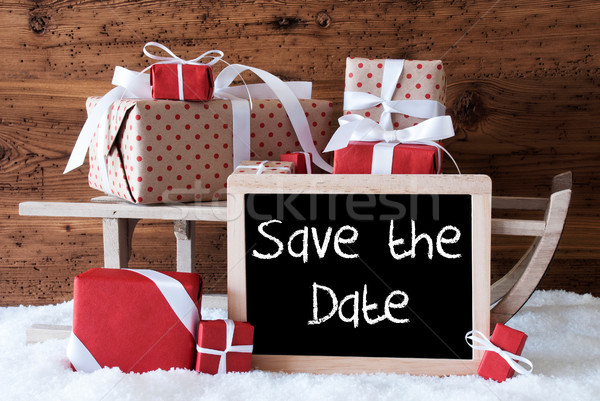 Sleigh With Gifts On Snow, English Text Save The Date Stock photo © Nelosa