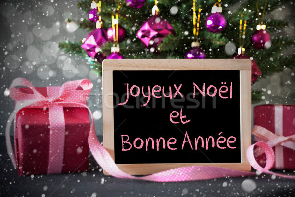 Tree With Gifts, Snowflakes, Bokeh, Bonne Annee Means New Year Stock photo © Nelosa