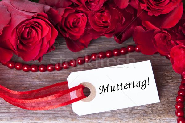 Rosy etichetta parola madri giorno fiori Foto d'archivio © Nelosa