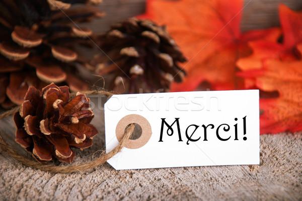 Autumn Label with Merci Stock photo © Nelosa