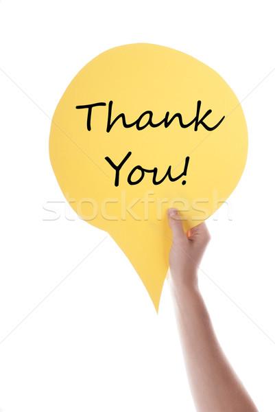 Citromsárga szöveglufi köszönjük kéz tart szövegbuborék Stock fotó © Nelosa