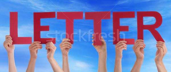 Stock fotó: Sok · emberek · kezek · tart · piros · egyenes