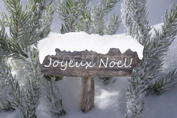 Sign Snow Fir Tree Joyeux Noel Means Merry Christmas Stock photo © Nelosa