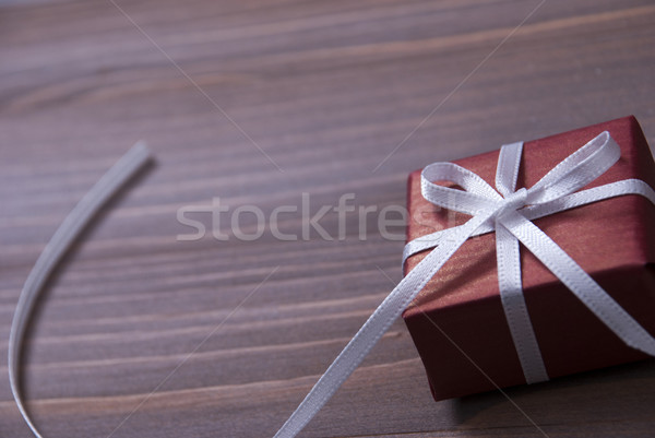 One Red Christmas Present, Gift, White Ribbon, Copy Space Stock photo © Nelosa