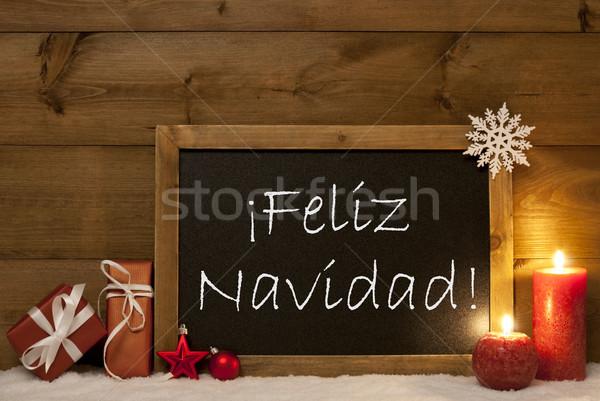 Stock photo: Card, Blackboard, Snow, Feliz Navidad Mean Merry Christmas