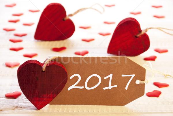 Label veel Rood hart tekst gelukkig nieuwjaar Stockfoto © Nelosa