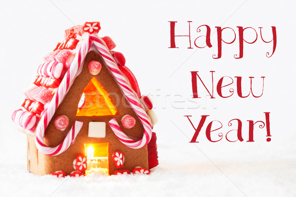 Gingerbread House, White Background, Text Happy New Year Stock photo © Nelosa