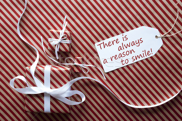 Two Gifts With Label, Quote Always Reason To Smile Stock photo © Nelosa