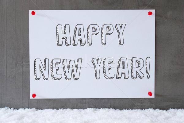Etykiety cementu ściany śniegu tekst szczęśliwego nowego roku Zdjęcia stock © Nelosa