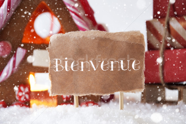 Gingerbread House With Sled, Snowflakes, Bienvenue Means Welcome Stock photo © Nelosa
