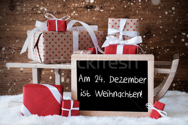 Sleigh With Gifts, Snow, Snowflakes, Weihnachten Means Christmas Stock photo © Nelosa