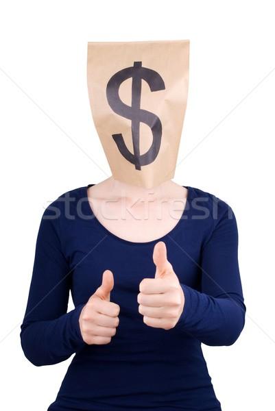 Papírzacskó fej dollárjel személy mutat remek Stock fotó © Nelosa