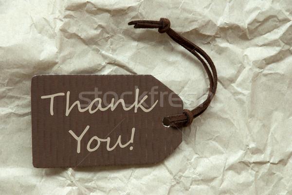 Kahverengi etiket teşekkür ederim kâğıt bir etiket Stok fotoğraf © Nelosa