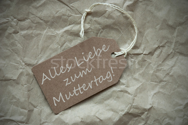 Beige Label With Muttertag Means Mothers Day Paper Background Stock photo © Nelosa