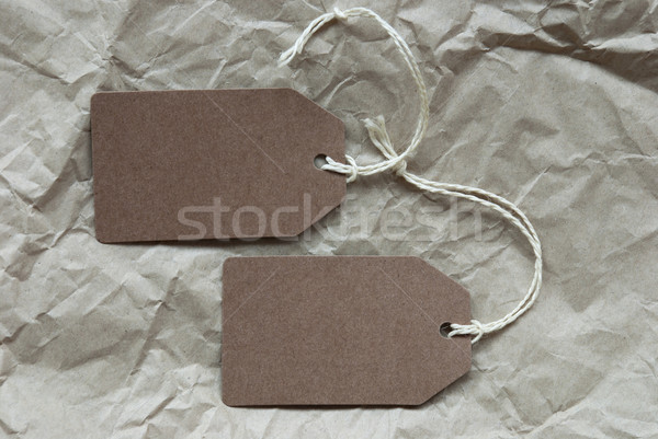 Two Brown Labels With Copy Space Paper Background Stock photo © Nelosa