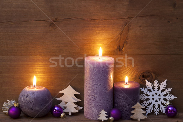 Purple Christmas Decoration With Candles  Stock photo © Nelosa