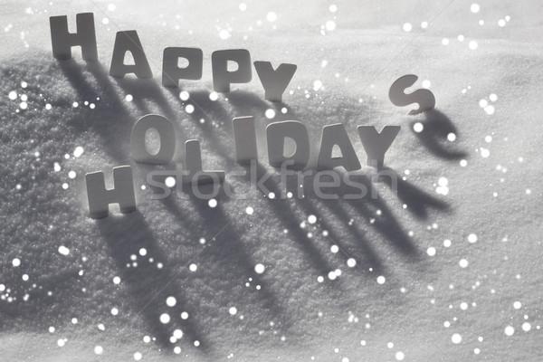 White Christmas Card, Text Happy Holidays On Snow, Snowflakes Stock photo © Nelosa