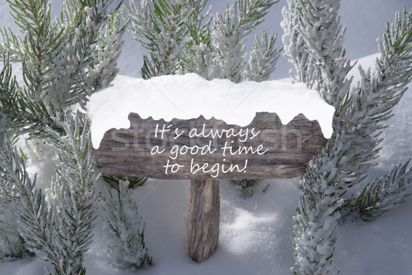 Christmas Sign Snow Fir Tree Text Reason Smile Stock photo © Nelosa