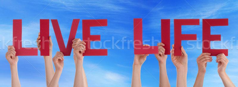 люди рук красный прямой слово Сток-фото © Nelosa