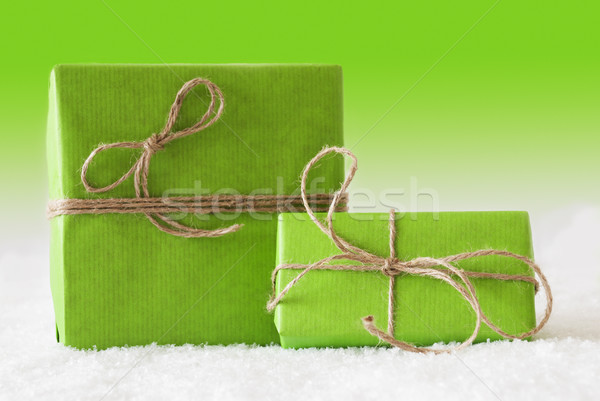 Iki hediyeler kar yeşil Noel hediyeler Stok fotoğraf © Nelosa