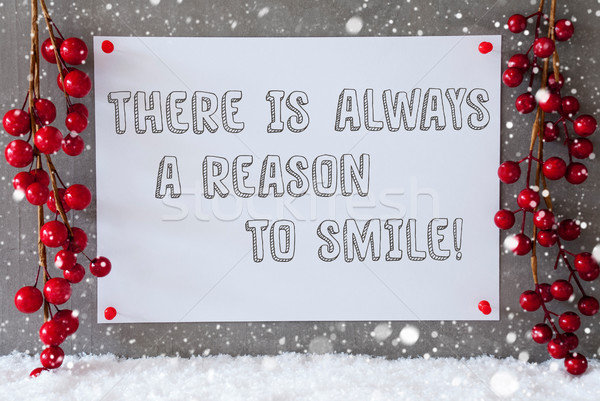 Label, Snowflakes, Christmas Decoration, Quote Always Reason To Smile Stock photo © Nelosa
