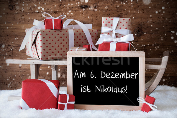 Sleigh With Gifts, Snow, Snowflakes, Nikolaus Means Nicholas Day Stock photo © Nelosa