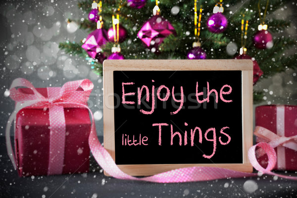 Tree With Gifts, Snowflakes, Bokeh, Quote Enjoy The Little Things Stock photo © Nelosa