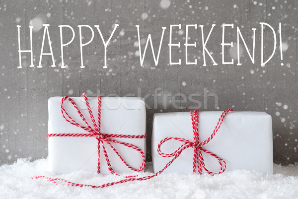 Stock photo: Two Gifts With Snowflakes, Text Happy Weekend
