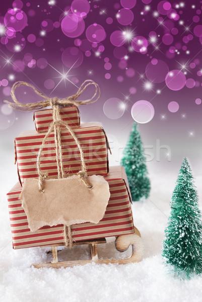 Stockfoto: Christmas · sneeuw · verticaal · paars · exemplaar · ruimte · slee