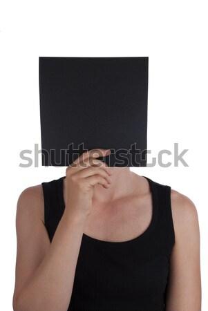 Person Hiding Behind a Black Square Stock photo © Nelosa