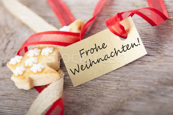 golden label with Frohe Weihnachten Stock photo © Nelosa