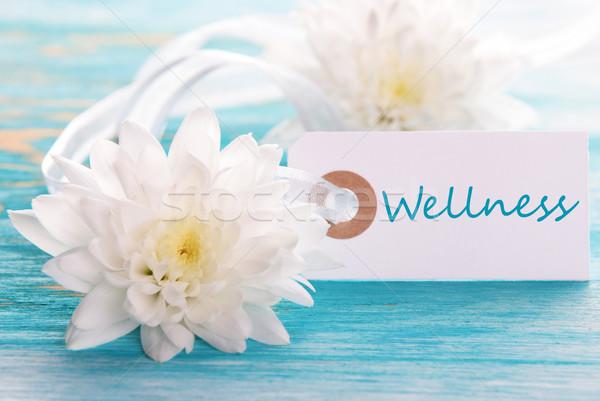 Foto d'archivio: Etichetta · blu · benessere · parola · fiori · bianchi · salute