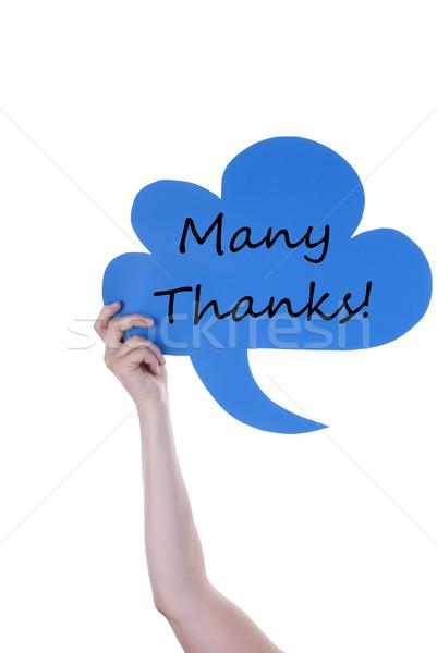 Kék szöveglufi sok köszönet kéz tart Stock fotó © Nelosa