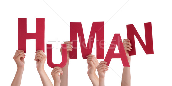 Many People Hands Holding Red Word Human  Stock photo © Nelosa